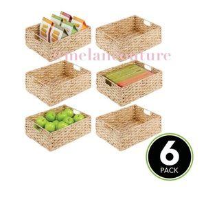 Weave Pantry Baskets Storage Organizer Bin 6 Pcs